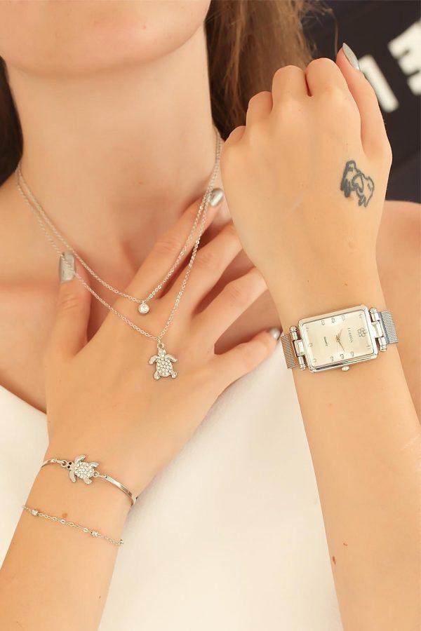 Silver Renk Hasır Metal Kordonlu Clariss Saat Kaplumbağa Kolye ve Bileklik Kombini