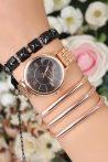 Rose Renk Metal Kordonlu Siyah İç Tasarımlı Kasa Bayan Saat ve Metal Bileklik Kombini