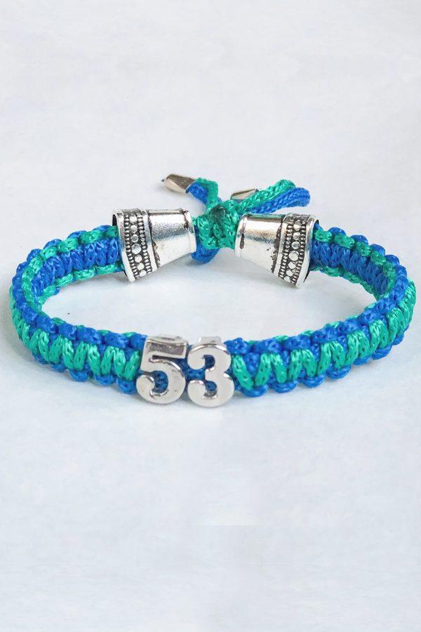 Mavi Yeşil 53 Yazılı Bileklik
